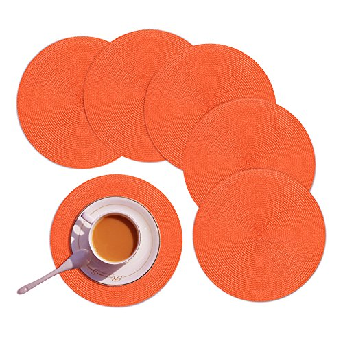 Homcomoda Round Placemats Set of 6 Heat Resistant Round Braided Woven Place Mats for Dining/Kitchen Table Orange Table Mats (Orange Place)
