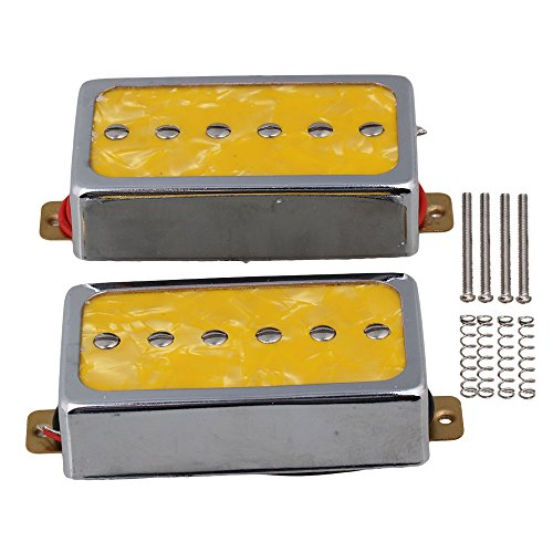 Yibuy Yellow Pearl P90 Single Coil Bridge & Neck Pickups Set for Electric Guitar Parts (P90 Pickup Coil Single)