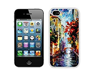 Apple Iphone 4s Case Durable Soft Silicone TPU Designer Painting Venice Art Designs White Cell Phone Case Cover for Iphone 4