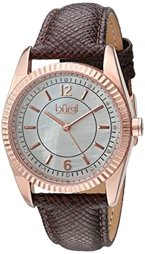 Burgi Women's Swarovski Crystal Accented White Mother-of-Pearl Dial with Rose-Tone Case on Genuine Leather Brown Strap Watch BUR167GY