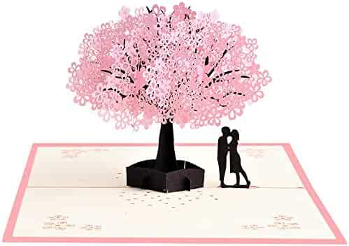 Handmade Pop Up Romantic Birthday, Anniversary, Dating Card for Husband, Wife, Boyfriend, Girlfriend - Cherry Blossom Tree with Couples