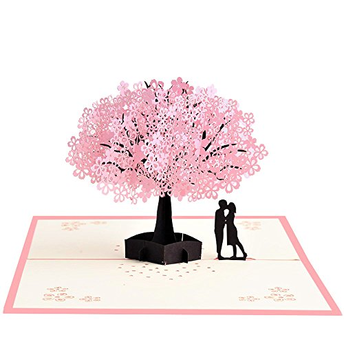 Handmade Pop Up Romantic Birthday, Anniversary, Dating Card for Husband, Wife, Boyfriend, Girlfriend - Cherry Blossom Tree with Couples (Handmade Wedding Anniversary Cards)
