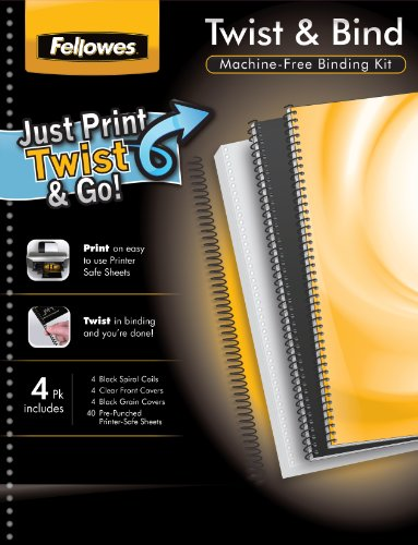 (Fellowes Twist and Bind All-in-One Machineless Binding Kit, 4 Pack (5226304))