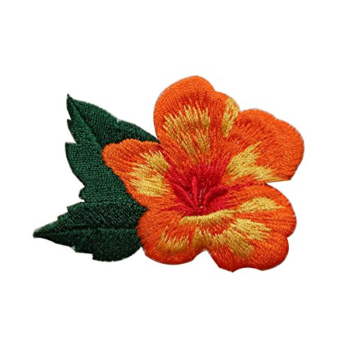 ID 6398 Orange Flower Blossom Patch Hibiscus Garden Embroidered IronOn Applique