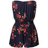 Awesome21 Floral Stretchable Tube Off-Shoulder Elastic Waist Band Romper Navy Size S