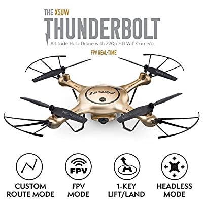 Force1 X5UW Drones with Live Camera Feed Altitude Hold 1-Key Control Headless 360 Flips LED Beginners Quadcopter by USA toyz
