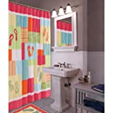 Flip Flop Shower Curtain Tropical Colorful Flip Flops on the Beach Bath Shower Curtain, 72 inches x 72 inches