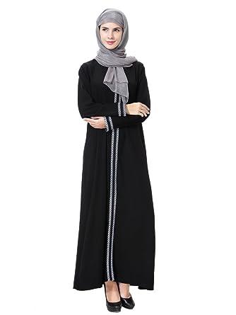 03c044c07e GladThink Womens Muslim Kaftan Abaya Round Neck Maxi Dress at Amazon ...
