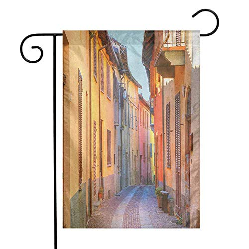 - duommhome Italy Garden Flag Narrow Paves Street Among Old Houses in Town Serralunga DAlba Piedmont Decorative Flags for Garden Yard Lawn W12 x L18 Pale Orange Brown Pink