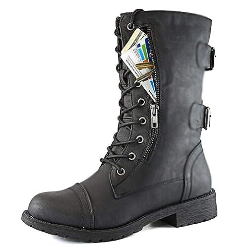 Minetom Botines Mujer Militares Planos Botas de Combate Botita Botines Acolchado Tarjeta de Crédito Bolsillo Martin Boots Zapatos para Otoño Invierno: ...
