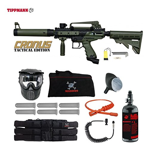 MAddog Tippmann Cronus Tactical Corporal HPA Paintball Gun Package - Black/Olive
