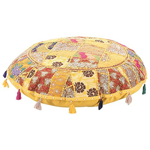 Indian Ottoman Pouf Cover Decorative Living Room Foot Stool Bohemian Chair Covers Handmade Cotton Traditional Round Pouf Ottomans Comfortable Embroidered Patchwork Floor Cushion by My Crafts 32'' by MyCrafts