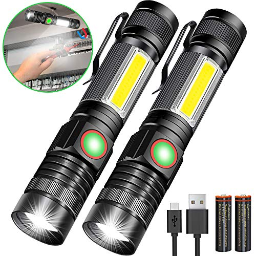 USB Rechargeable Flashlight, Magnetic Flashlights With COB Flash Light Include Battery - 4 Models, Zomable, Water Resistant, Vnina LED Tactical Flashlight High lumen for Indoor & Ourdoor use