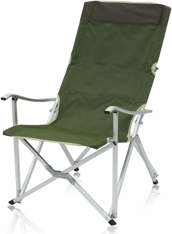 ZZZL Sling Chair, Comfortable Folding Outdoor Camping Chair - High and Inclined Back Rest - Armchair with Carry Bag for Easy Transport(ArmyGreen)
