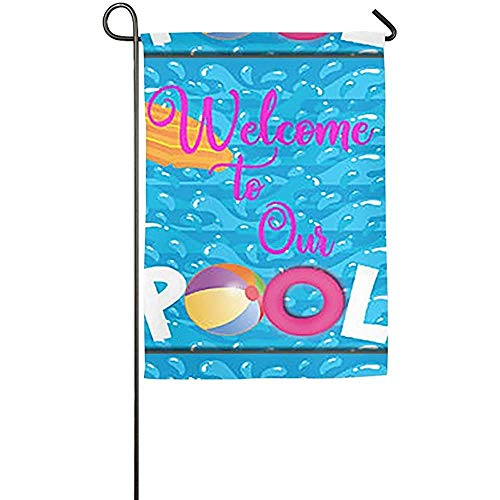 - Jultimee Flag Personalized Garden Flag - Custom Welcome to Our Pool Yard Flag 12 X 18 Inches