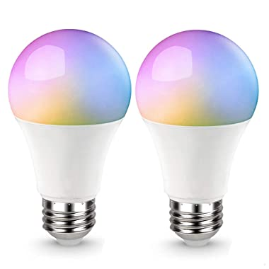 AED LED Smart Wifi Light Bulb, Tunable White (2700 to 6500K), Dimmable, Multi-color, A19, Compatible with Alexa, Echo, Goolge Home, No Hub Required, 2 Packs