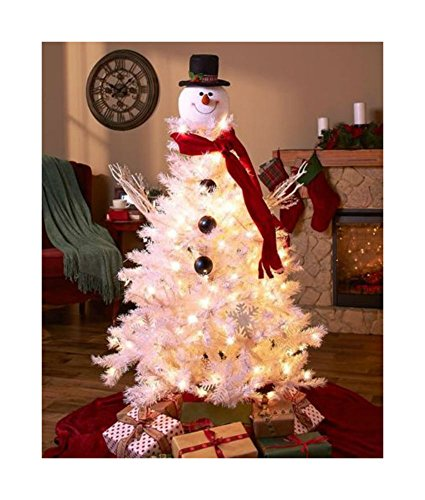 SNOWMAN TOPPER HOLIDAY CHRISTMAS TREE DECORATION ORNAMENT FESTIVE HOME DECOR NEW Home and Kitchen Decor Snowman Christmas Tree Ornament
