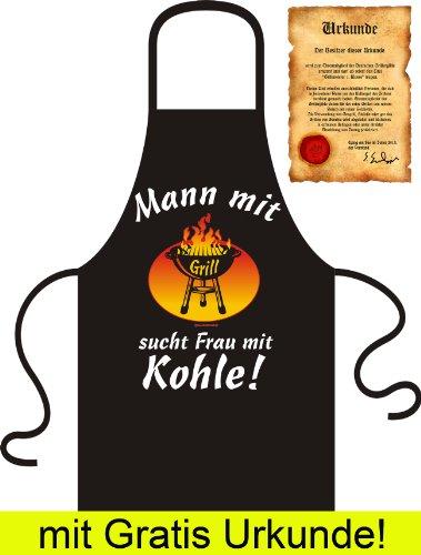 Auf Partnersuche? Wir habe Die Perfekte - SCHÜRZE mit gratis URKUNDE: Mann mit Grill sucht Frau mit Kohle! Farbe: Schwarz, Black - one size fits all