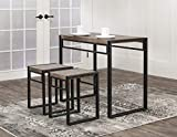 Bar Stools Near Me Sunset Trading CR-P2089-75 Dawson Table and Stools, Brown Gray/Black