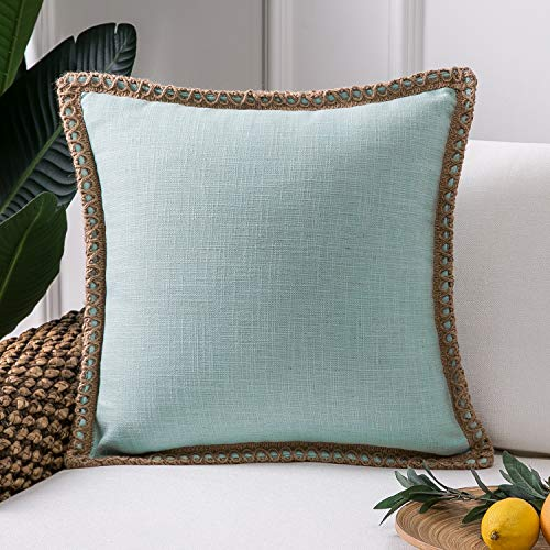 Phantoscope Farmhouse Decorative Throw Pillow Covers Burlap Linen Trimmed Tailored Edges Outdoor Pillows Light Turquoise 18 x 18 inches, 45 x 45 cm