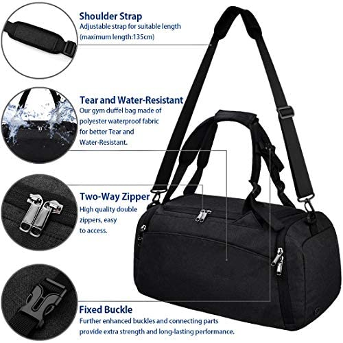 Gym Duffle Bag Waterproof Travel Weekender Bag for Men Women Duffel Bag Backpack with Shoes Compartment Overnight Bag 40L Black