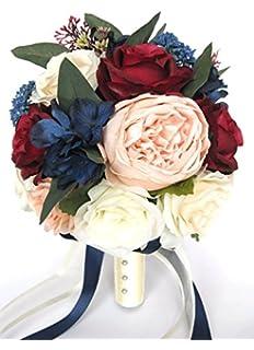 Amazon wedding bouquet 17 piece package bridal bouquets silk 17 piece wedding bouquet package bridal bouquets artificial silk flowers peach blush burgundy navy blue wine mightylinksfo