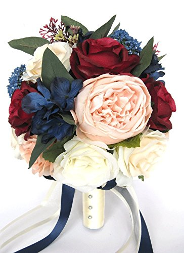 Amazon 17 piece wedding bouquet package bridal bouquets 17 piece wedding bouquet package bridal bouquets artificial silk flowers peach blush burgundy navy blue wine mightylinksfo