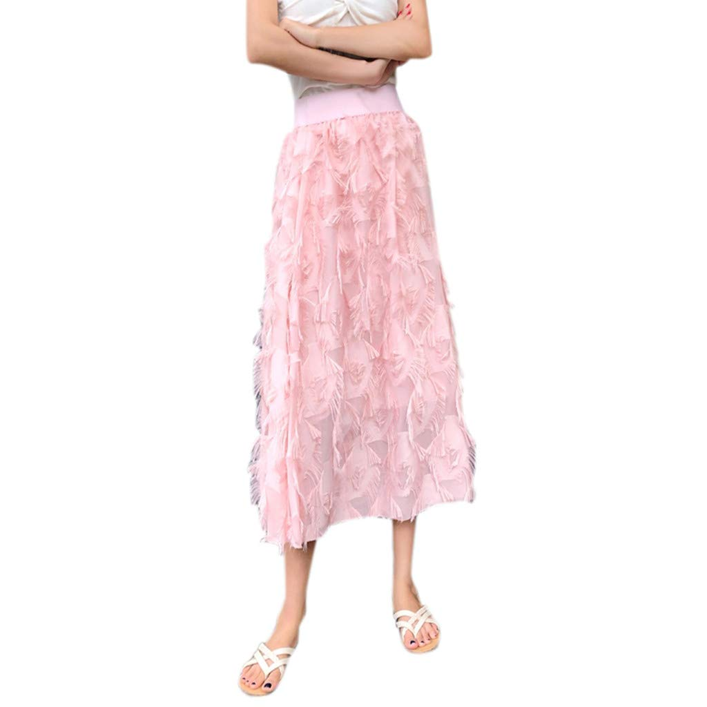 B Pink Farmerl Women High Waist Pleated Ankle Length Beach Wedding Party Maxi Skirt