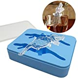 Keypro Crocodile-Shaped Silicone Ice Mold with Lid, Flexible Ice Mold Tray, BPA Free, Makes Slowly-Melted Ice for Cooled Drinks, Ice Mold for Whiskey, Silicone Ice Mold Animals, Tool Gift (Light Blue)