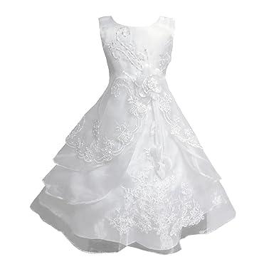 a326729c2cd39 LSERVER Enfant Filles Robe Mariage Soirée Princesse Demoiselle Bustier  Fleur Jupe Longue