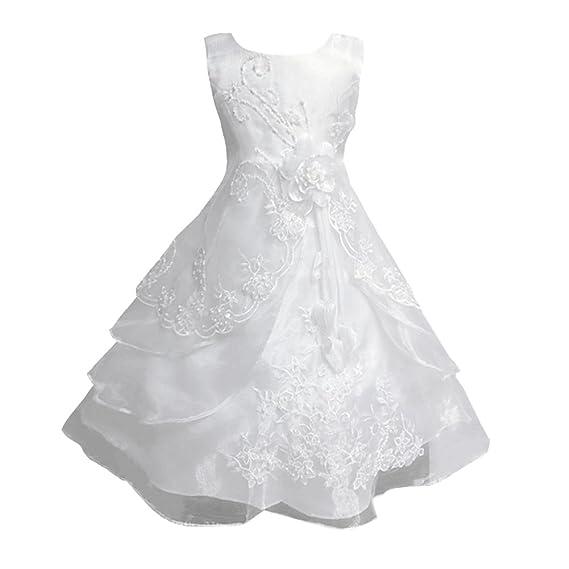 b01faf8cff251 LSERVER Enfant Filles Robe Mariage Soirée Princesse Demoiselle Bustier  Fleur Jupe Longue