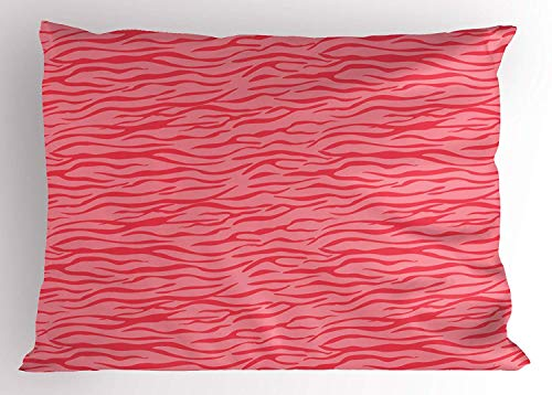 (TYANG Pink Zebra Pillow Sham, Wavy Zebra Stripes Camouflage Savannah Safari African Animal Motif, Decorative Standard Queen Size Printed Pillowcase, 30 X 20 inches, Dark Coral and Pink)