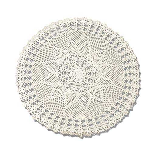 (KEPSWET Pretty Cotton Hand Crochet Lace Round Doilies Hollow Out Small Tablecloth Vintage Sofa Pad Decor Table Overlay Flower Design (20-Inch Round, Beige))