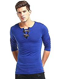 "<span class=""a-offscreen"">[Sponsored]</span>Mens V-neck Horn Button Slim Fit Long Sleeve T-shirt Blouse"