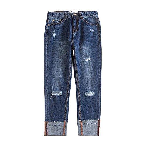 DaBag Pants Baggy Jeans Donna Strappati Denim Jeans Larghi Moda Straight Boyfriend Pantaloni Casual qHTBpqaw