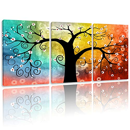 BPAGO Abstract Paintings Luck Tree Canvas Paintings 3 Panels Framed Modern Paintings Giclee Canvas Home Decor Wall Art Ready to Hanging (36x16inch)]()