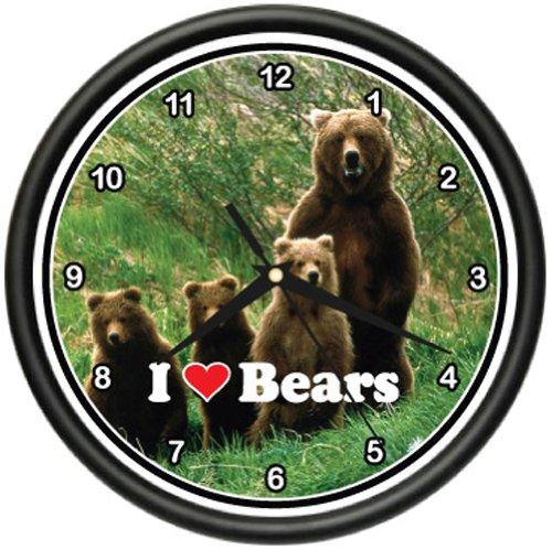 Circus Wall Clock (BEAR Wall Clock lover animal brown cub art cabin gift)