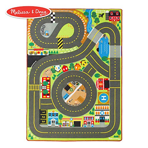 Melissa & Doug Jumbo Roadway Activity Rug (4 Wooden Traffic Signs, Oversized Multi-Roadway Activity Rug, Soft, Durable Material, 79