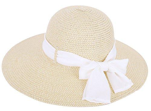 [Simplicity Women's Wide Brim Summer Beach Sun Straw Hats, 280_Cream] (Straw Farmer Hats)