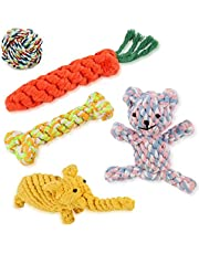 GXL Dog Toys Set, Washable Cotton Rope 5 Pieces of Pet Chew Toys Including Rope Carrot, Elephant, Dog Bear, Rope Bone, Cotton Ball, Durable Toys for Small and Medium Sized Dogs