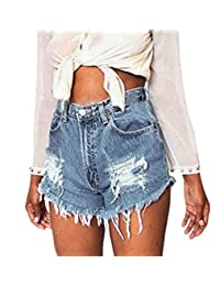 MIOIM Women Vintage Ripped Destroyed High Waisted Denim Shorts Jeans Hot Pants