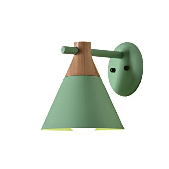 GroBartig LED Massivholz Kreative Wandleuchten, Modern Minimalist Blau / Grau / Grün  / Rosa / Gelb