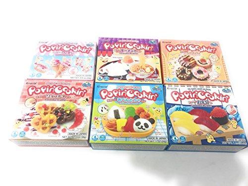- 6 Boxes Bundle Kracie Popin' Cookin' DIY Gummy Candy Making Kit Tanoshii Cakes, Sushi and Donuts,Tanoshii Bento, Ramen and Waffle