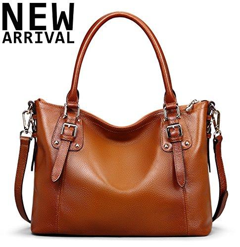 [Jack&Chris Ladies Handbags and Purses Tote Bag for Women Leather Shoulder Bag, WBDZ8008 (Brown-Small)] (Leather Ladies Handbag)
