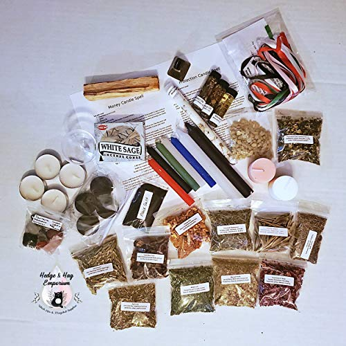 Deluxe Plus Beginner Witch Kit, Starter Wicca Supplies, Wicca Supplies, Witchcraft supplies, Spell Candles, Witchcraft Herbs, Altar Tools, Pagan Supplies, Wicca Decor