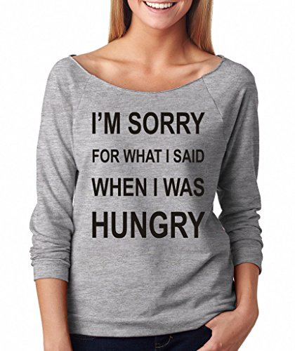 SignatureTshirts Women's I'm Sorry for What I Said When I was Hungry Raglan T-Shirt M Heather Grey