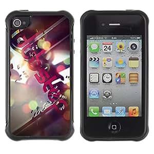 ZAKO Cases / Apple Iphone 4 / 4S / Dupsteb Music Illustration / Robusto Prueba de choques Caso Billetera cubierta Shell Armor Funda Case Cover Slim Armor