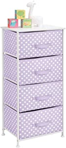mDesign 4-Drawer Vertical Dresser Storage Tower - Sturdy Steel Frame, Wood Top and Easy Pull Fabric Bins, Multi-Bin Organizer Unit for Child/Kids Bedroom or Nursery - Light Purple/White Polka Dots
