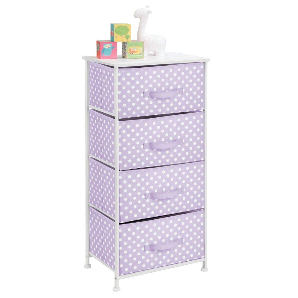 mDesign 4-Drawer Vertical Dresser Storage Tower - Sturdy Steel Frame, Wood Top and Easy Pull Fabric Bins, Multi-Bin Organizer Unit for Child/Kids Bedroom or Nursery - Light Purple/White Polka Dots by mDesign