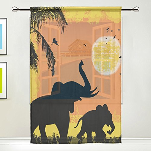 IMOBABY Elephant Sunset Palm Tree Sheer Window Curtain Drape Panels Treatment 55